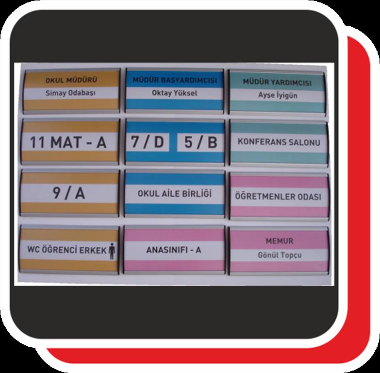 Okul kapıları üzerinde veya yanlarında  sınıf adı veya numarasını gösteren küçük panolar.
