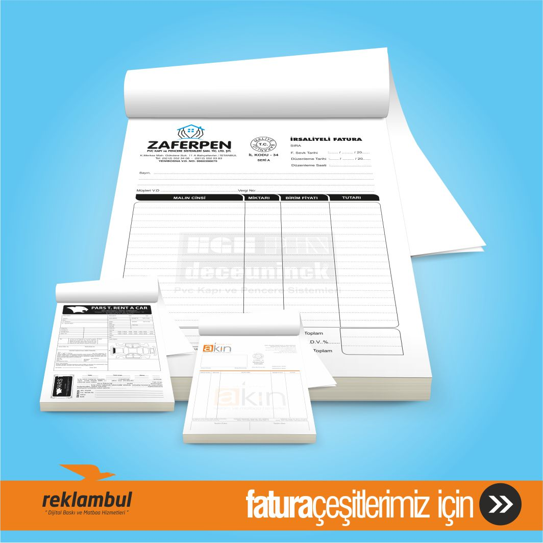 Tahsilat makbuzu, sipariş fişi ve sözleşme makbuzu,,A5 fatura, A4 fatura, makbuz, makbuz fiyatları, dijital baskı,